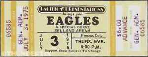 6 1973 -77  THE EAGLES VINTAGE UNUSED FULL CONCERT TICKETS scrapbooking collect
