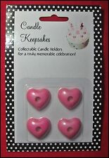 Candle Keepsakes Set of 4 PINK HEARTS holder birthday anniversary proposal NEW