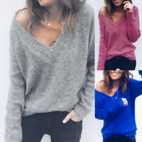 Womens V Neck Off the Shoulder Top Chunky Knitted Jumper Pullover Plus Size