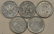 Denmark 5 Ten Ore 1907,10,15,20,+21 Most are Better Circulated Grades