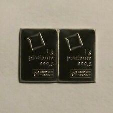 1 gram Valcambi Suisse Platinum 2 Bar Set
