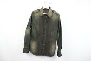 7 For All Mankind Womens Size Small Distressed Military Denim Jean Shirt Jacket