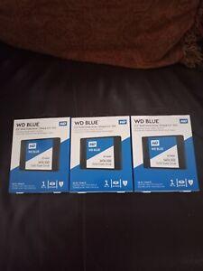 """3 WD Blue 3D NAND 1TB Internal SSD  SATA III 6Gb/s 2.5""""/7mm Solid State Drive"""