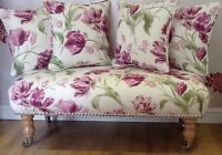 Long Footstool Stool & 4 Cushions Laura Ashley New Gosford Berry Fabric