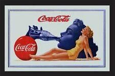 COCA COLA drinking LADY nostalgia barspiegel SPECCHIO MIRROR BAR 22 x 32 cm