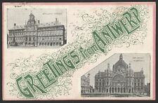 "Belgium. Antwerp. ""Greetings From Antwerp"" 1907 Posted Postcard"