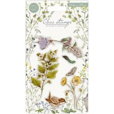 New Craft Consortium A5 Clear rubber Stamp set WILDFLOWER MEADOW free USA ship