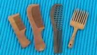 Set Of 4 Antique Vintage Primitive Wooden Comb Old Rustic Brass & Wood