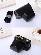 (BLACK) Camera Hard Leather Compact Case Bag For Sony A6000 A6300 NEX 6 + Strap