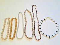 Vintage Necklaces. painted porcelain beads, pearl necklace, plastic white flat