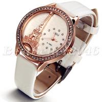 Paris Eiffel Tower Rhinestone Quartz Analog Womens Wrist Watch Leather Band Gift