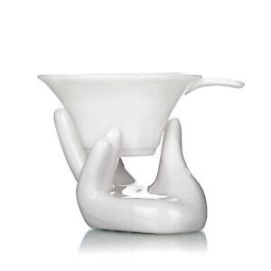 Novelty Elegant Porcelain White Tea Water Filter Strainer with Hand Shape Holder