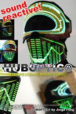 Rave Mask GLOW - Fluorescent Light Up Mask for DJ Gigs Party EDM Dancer Costume