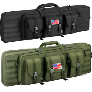 """36"""" 46"""" Tactical Double Padded Carbine Rifle Range Gun Case Bag Hunting Backpack"""