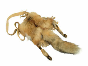 Real Red Fox Tail & Feet Bag with Brain Tanned Leather Made (422-10-G2457) L24