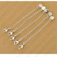 Pure 925 Sterling Silver Chain Extender with Tag Lobster Clasp For Necklace 1pc