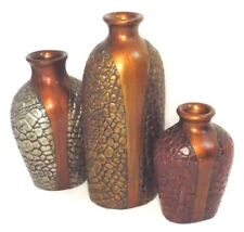 Lot of 3 Carved Wooden Vases, Alligator Skin Decor, Hand Painted Red Gold Silver