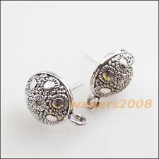 8 New Charms Tibetan Silver Tone Round Flower Wire Earrings Hooks 12.5mm