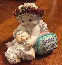 """Dreamsicles """"Blessed Are The Meek"""" White Angel with Lamb Figurine"""