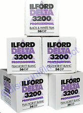 5 x ILFORD DELTA 3200 35mm 36exp CHEAP BLACK & WHIITE FILM  by 1st CLASS POST