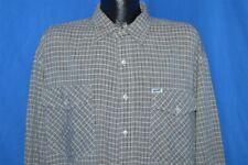 vintage 80s Guess Cotton Rayon Grey Plaid Button Down Men'S Shirt Sz 3 Large L