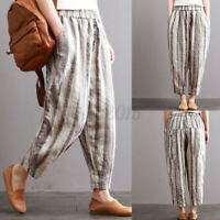 US STOCK Women Loose Harem Pants Elastic Waist Wide Legs Baggy Long Trousers NEW