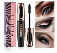 4D Silk Fiber Eyelash Waterproof Mascara Makeup Extension Kit Long Black Lash