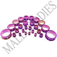 "V014 Screw-on/fit Hot Pink Surgical Steel Flesh Tunnels Ear Plugs 10G~1"" Gauges"