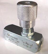 "Hydraulic Oil Flow Control ReverseFlow Check Valve 3/8"" BSP Ports400Bar 6000 PSI"