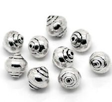 12 Antiqued Silver Tone Metal SOLID Spacer Beads 8mm bme0096