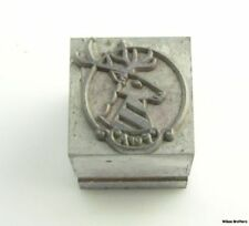 Foresters of America Printers Block Stamp - Vintage F of A Insurance Stag Deer