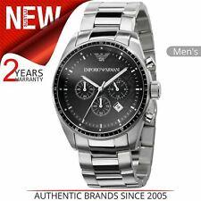 Emporio Armani Sportivo Men's Watch AR0585│Round Black Dial│Silver Bracelet Stra