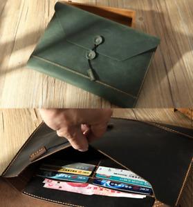 file Folder pocket cow Leather Messenger bag Briefcase Pouch handmade green z727