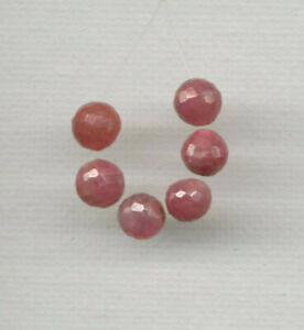 SIX (6) FACETED NAMIBIAN RUBY 6MM ROUND BEADS - 0990