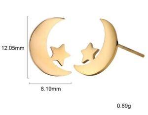 Moon Star Earrings Stud Gold Astrology Bohemian Boho Ear Rings