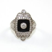 Victoria Wieck Sterling Silver Black Onyx Clear CZ Ring Size 5.25 VK
