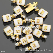 10 PCS 3D Nail Art White Perfume with Pearl Gold Alloy Decoration #E1183