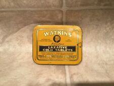 Vtg J.R. Watkins Laxative Cold Tablets Tin Slide Top Lid Empy