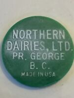 Vintage Token Northern Dairies Prince George B.C. Good For 1 Quart Green Coin T5