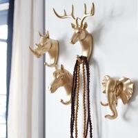 Animal Deer Head Stags Hook Wall Hanger Rack Holder Resin Home Decor Gift