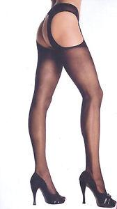 Women's Pantyhose Sheer Nylon Cheeky Suspender Reg Black or Nude Leg Avenue 1901