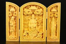 Collection Precious Boxwood Spiritual Fu Lu Shou Statue Box
