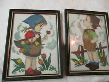 Vintage 2 Hand Painted on fabric Pictures German Children with Tulips