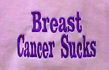 Breast Cancer Sucks T-Shirt XL Awareness Purple Embroidery Pink Short Sleeve New