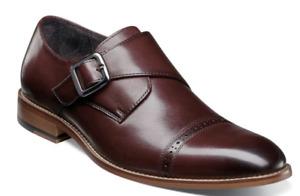 Stacy Adams Desmond Shoes Cap Toe Monk Strap Burgundy 25162-601