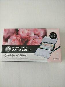 NEW - Mungyo Professional Water Colour Paints 12 Pan Set  Nostalgia of Pastel