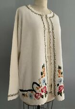 Women's Size Large Handmade Ivory Cardigan Sweater Flowers Embroidery