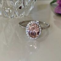 925 Solid Sterling Silver Created Morganite Ring Size 10