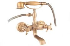 Retro Traditional Victorian Bath Shower Mixer Tap Old Gold Shower head 10