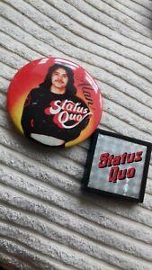 2 x Status quo vintage 63mm & plastic square   pin badges